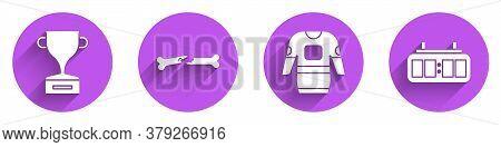 Set Award Cup, Human Broken Bone, Hockey Jersey And Hockey Mechanical Scoreboard Icon With Long Shad