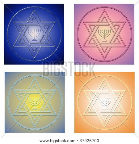 Collection Of Glass Star Of David Symbols