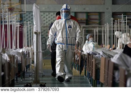A Medical Professional Work In The Temporary Covid-19 Hospital Center In Bishkek, On Jule 5, 2020. T