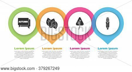 Set Speech Bubble With Text Autumn, Leaf Or Leaves, Leaf Or Leaves And Corn. Business Infographic Te