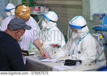 A Medical Professional Work In The Temporary Covid-19 Hospital Center In Bishkek, On Jule 8, 2020. T