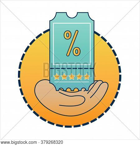 Loyalty Program Ticket Icon. Hand With Discount Or Bonus Coupon With Percent Sign As Customer Benefi