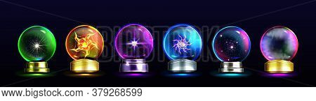 Magic Crystal Balls For Fortune Telling And Future Prediction, Glowing Glass Orbs With Plasma And My