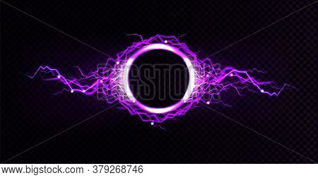 Electric Lightning Circle With Purple Glow Effect. Illuminated Neon Round Frames. Vector Realistic D