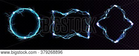 Lightning Frames, Electric Blue Thunderbolt Borders, Magic Portals, Energy Strike. Powerful Electric