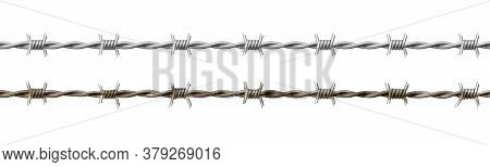 Wire Barb, Prison Cell Seamless Border, Jailhouse, Old Rusty And New Barbwire Fence. Boundary, Terri