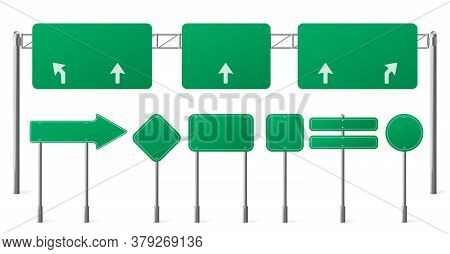 Highway Green Road Signs, Blank Signage Boards On Steel Poles For Pointing City Traffic Direction, E