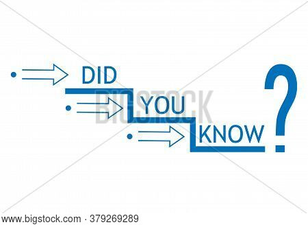 Did You Know Text Sign. Interesting Fact Symbol. Blue Logo With Question Mark. Concept News And Info