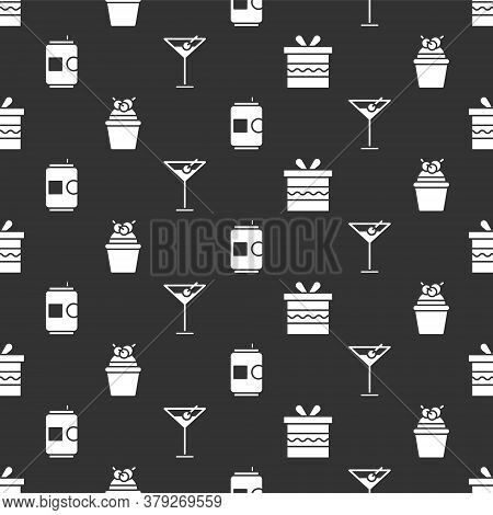 Set Gift Box, Cake, Beer Can And Martini Glass On Seamless Pattern. Vector