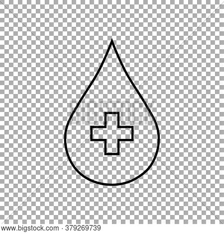 Donate Drop Blood Sign With Cross Isolated On Transparent Background. Vector Illustration