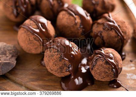 Chocolate Bobon Candy Truffles With Chocolate Glaze