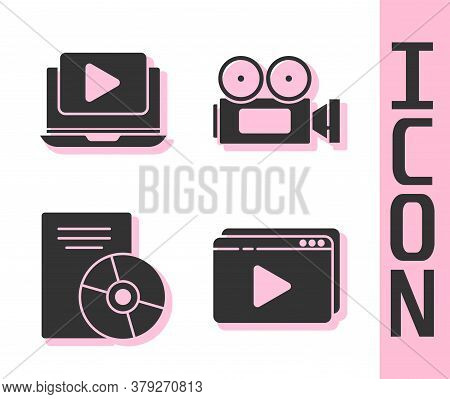 Set Online Play Video, Online Play Video, Cd Or Dvd Disk And Cinema Camera Icon. Vector