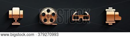 Set Director Movie Chair, Film Reel, 3d Cinema Glasses And Camera Vintage Film Roll Cartridge Icon W