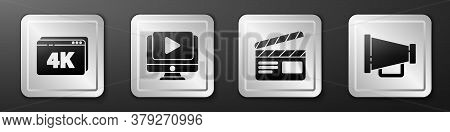 Set Online Play Video With 4k, Online Play Video, Movie Clapper And Megaphone Icon. Silver Square Bu