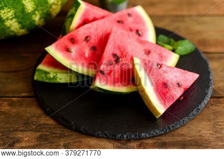Fresh Delicious Watermelon Sliced With Mint And Watermelon Juice