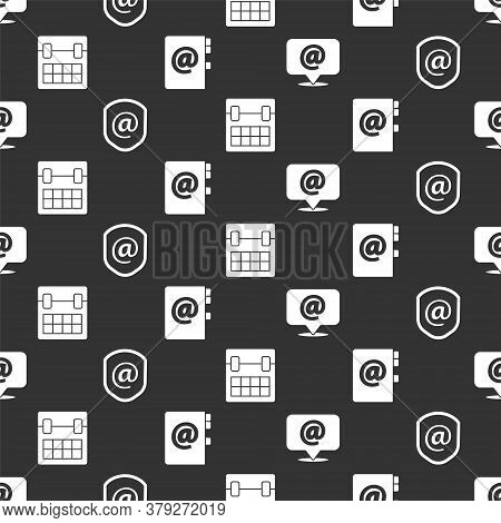 Set Mail And E-mail, Shield With Mail And E-mail, Calendar And Address Book On Seamless Pattern. Vec