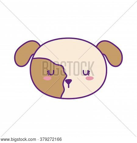 Dog Face Line And Fill Style Icon Design, Mascot Pet Animal Nature Cute Puppy Canine And Domestric T
