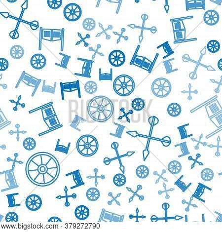 Set Line Old Wooden Wheel, Crossed Arrows And Saloon Door On Seamless Pattern. Vector