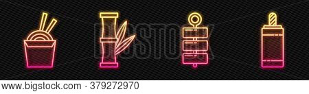 Set Line Firework, Asian Noodles In Paper Box And Chopsticks, Bamboo And Firework. Glowing Neon Icon