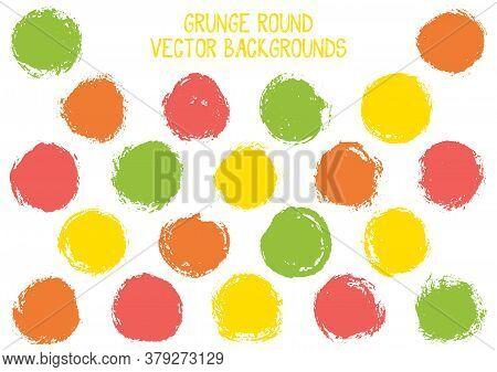 Vector Grunge Circles. Trendy Post Stamp Texture Circle Scratched Label Backgrounds. Circular Tag, I