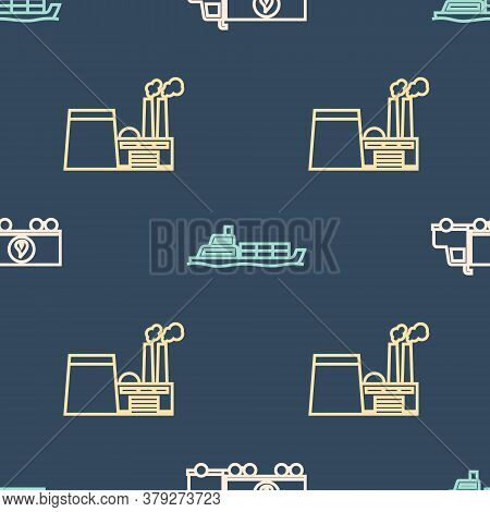 Set Line Tanker Truck, Oil Industrial Factory Building And Oil Tanker Ship On Seamless Pattern. Vect