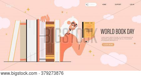 Smart Woman Or Teacher In Glasses Hold A Book And Hide Behind A Pile Of Books. World Book Reading Or
