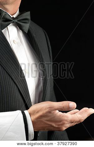 Fine Dining Waiter, Open Hand, Side View