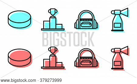 Set Line Sport Bag, Hockey Puck, Hockey Over Sports Winner Podium And Air Horn Icon. Vector