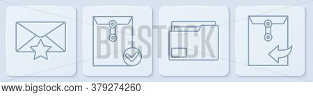 Set Line Envelope With Star, Document Folder, Envelope And Check Mark And Envelope. White Square But