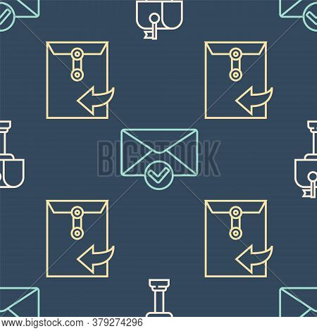 Set Line Mail Box, Envelope And Envelope And Check Mark On Seamless Pattern. Vector