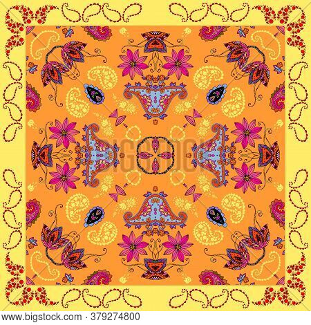 Colorful Sunny Bandana Print. Summer Design With Bright Ornament With Yellow, Orange And Pink Colors
