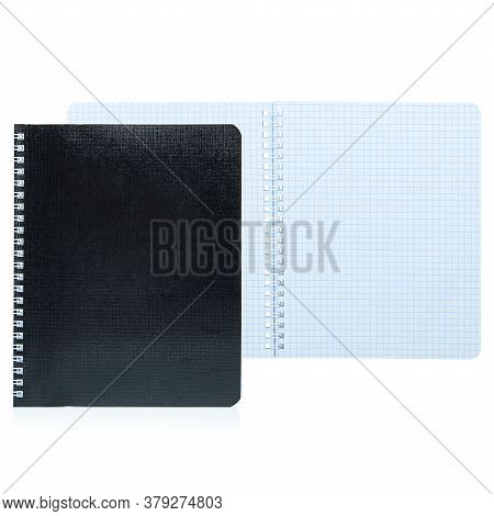 Open Notebook With Black Cover Isolated On White Background, Layout, Copy Space. An Empty Notepad In