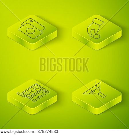 Set Isometric Hand Holding Casino Chips, Slot Machine, Martini Glass And Deck Of Playing Cards Icon.