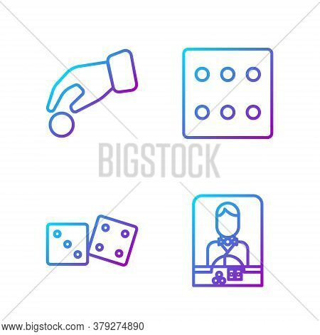Set Line Casino Dealer, Game Dice, Hand Holding Casino Chips And Game Dice. Gradient Color Icons. Ve
