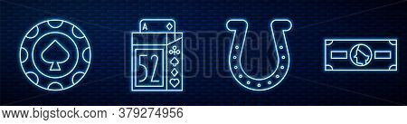 Set Line Horseshoe, Casino Chips, Deck Of Playing Cards And Stacks Paper Money Cash. Glowing Neon Ic