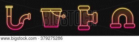 Set Line Industry Metallic Pipe, Industry Metallic Pipe, Bucket And Industry Metallic Pipe. Glowing