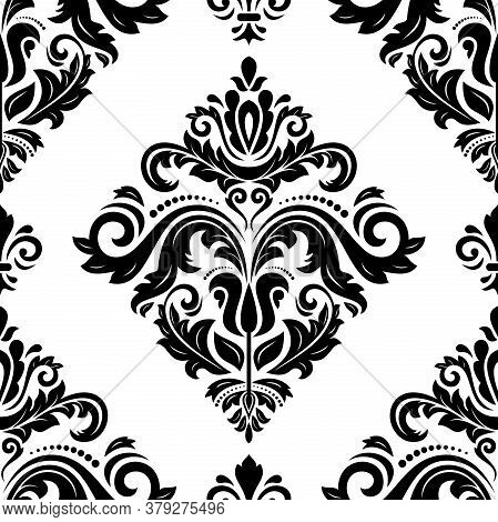 Classic Seamless Pattern. Damask Orient Ornament. Classic Vintage Background. Orient Black And White