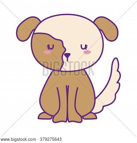 Dog Line And Fill Style Icon Design, Mascot Pet Animal Nature Cute Puppy Canine And Domestric Theme