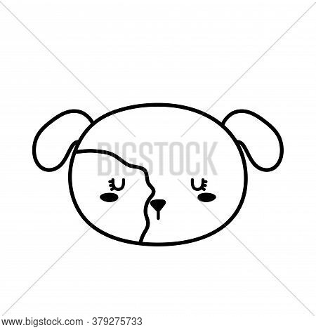 Dog Face Line Style Icon Design, Mascot Pet Animal Nature Cute Puppy Canine And Domestric Theme Vect