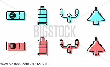 Set Line Aircraft Steering Helm, Airline Ticket, Suitcase And Jet Fighter Icon. Vector