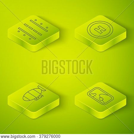 Set Isometric Helicopter Landing Pad, Airship, Airplane Window And Airport Runway Icon. Vector