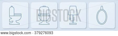 Set Line Toilet Bowl, Table Lamp, Toilet Bowl And Mirror. White Square Button. Vector