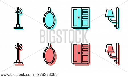 Set Line Wardrobe, Coat Stand, Mirror And Wall Sconce Icon. Vector