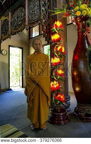 Vietnam, Da Lat, November, 2016 - Monk Inside The Truc Lam Da Lat Zen Monastery In Da Lat, Vietnam