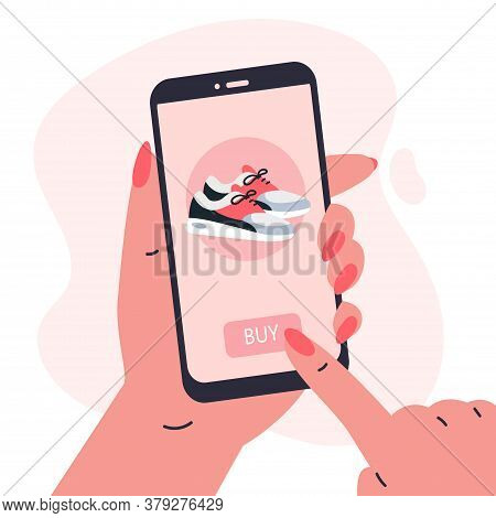 Mobile Shopping Consept.woman Holding A Phone In Her Hands And Shopping In The Online Store, Buys A