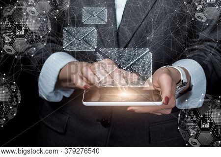 Email Delivery Concept. Business Woman Working On A Tablet With Email.