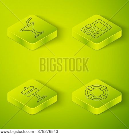 Set Isometric Photo Camera, Road Traffic Signpost, Lifebuoy And Martini Glass Icon. Vector