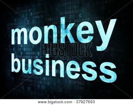 Life style concept: pixelated words monkey business on digital s