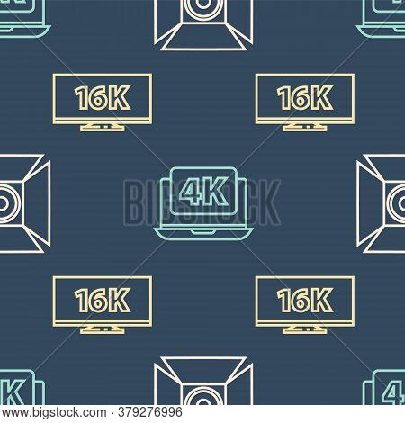 Set Line Movie Spotlight, Screen Tv With 16k And Laptop With 4k Video On Seamless Pattern. Vector