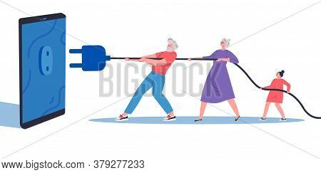 Digital Detox, Social Media Detox Concept Illustration In Flat Style.grandparents With Child Disconn